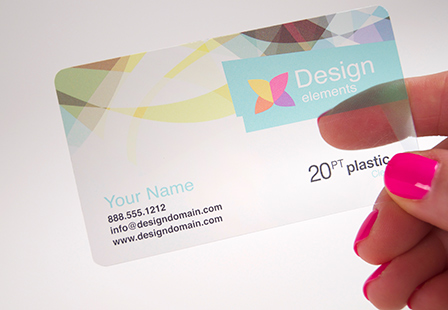 Plastic card printing options include 20pt clear frosted or 20pt clear reheart Images